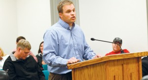 Greg Bleazard speaks about the Clark Farm and the Grantsville Cemetery during the open comment period at the Grantsville City Council meeting. A group of more than 20 people attended city council meeting for the purpose of objecting the cemetery's expansion.
