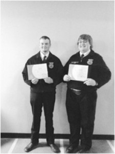 Pictured are Stansbury FFA's Connor Black and Jared Lorensen, who received their State FFA Degrees while attending the State FFA Convention in Logan last month.   photo courtesy of Codie Miller
