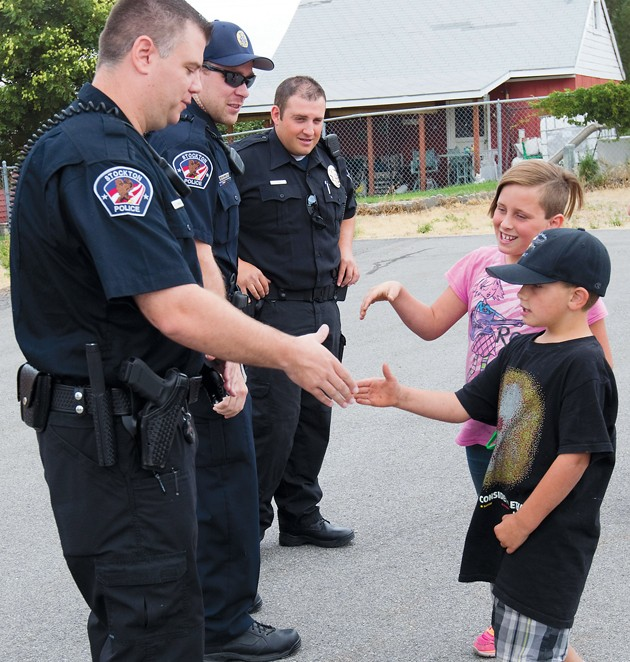 Boy thanks area law enforcement officers