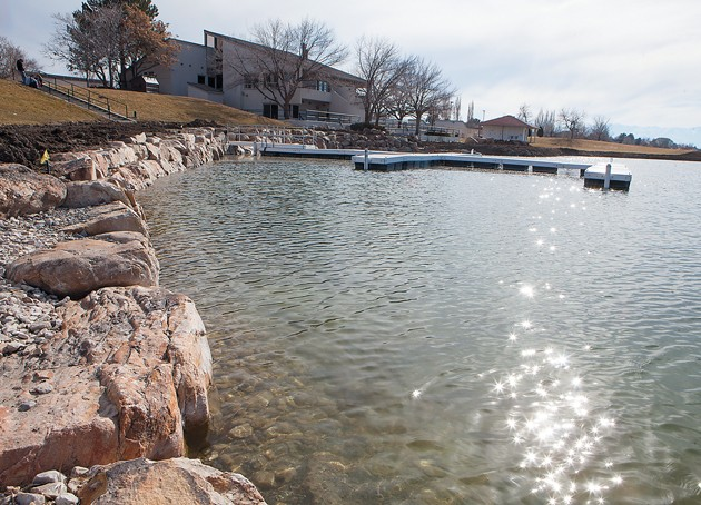 Stansbury Park Service Agency Is Working On Restoring The Shoreline At Lake Near Clubhouse