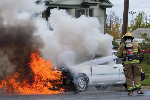 Car's engine catches fire