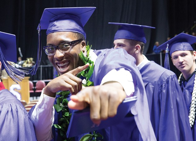 amir french celebrates after graduating from stansbury high school