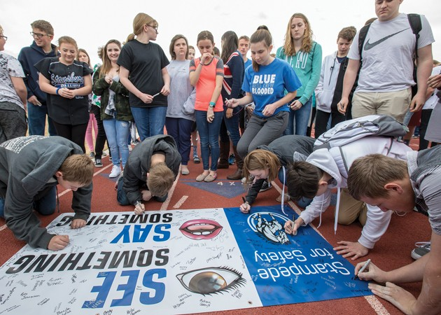 Stansbury students walkout for school safety awareness
