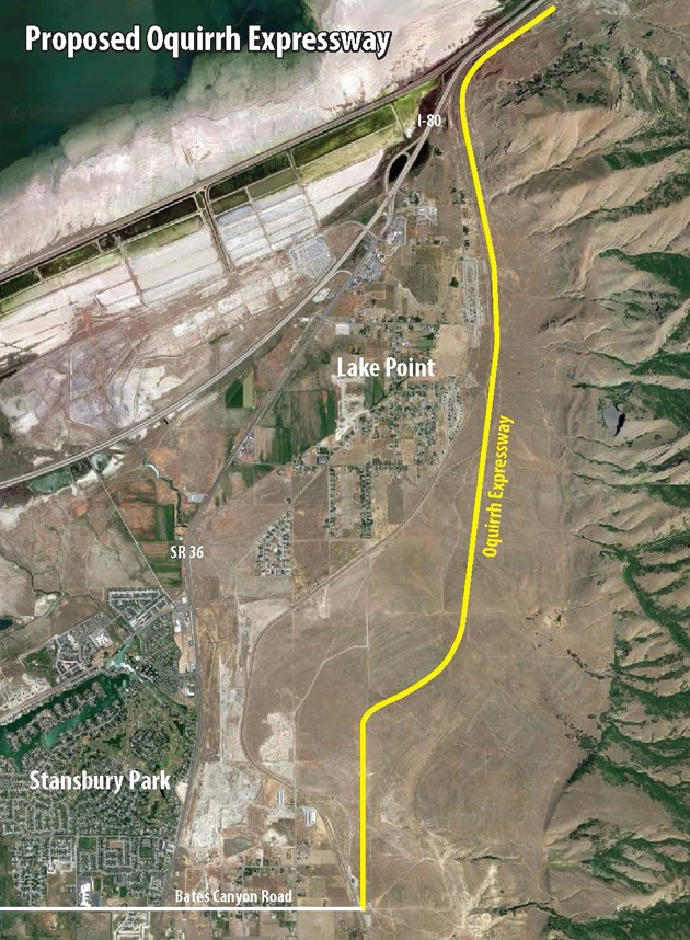 Proposed Oquirrh Expressway to travel county's east bench