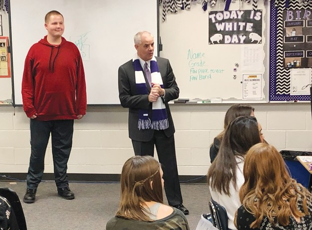 TV weatherman visits class of special needs students at THS