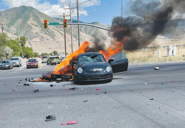 Flaming accident on state-Route 36